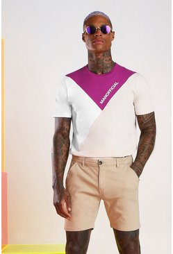 MAN Official T-Shirt mit Colorblock, Hellviolett
