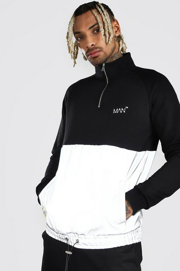 Black MAN Reflective Panel Half Zip Funnel Neck