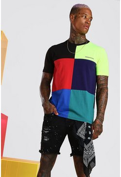 Black MAN Official Multi Colour Block T-Shirt
