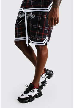 Black Big And Tall Tartan Los Angeles Jersey Shorts