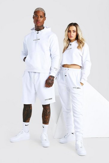White Abode Ladies Cropped Hoodie