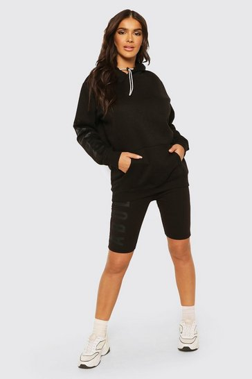 Black Abode Ladies Hoodie And Cycling Short Set