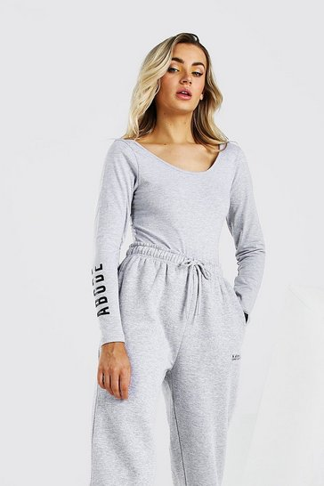 Grey marl Abode Ladies Scoop Back Bodysuit