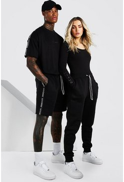 Black Abode Oversized Tee And Short Set With Side Tape