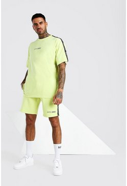Abode Oversized Tee And Short Set With Side Tape, Yellow