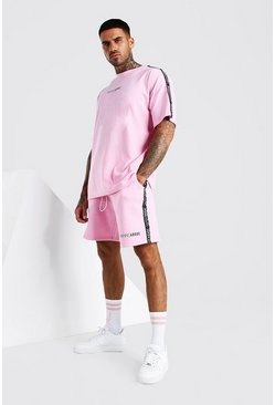 Pink Abode Oversized Tee And Short Set With Side Tape