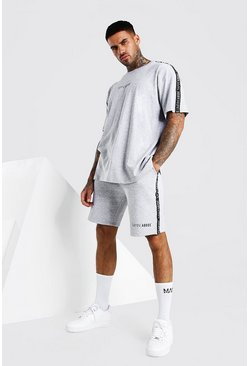 Grey marl Abode Oversized  Side Tape Tee And Short Set