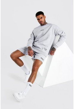 Grey marl Abode Relaxed Utility Sweater And Short Set
