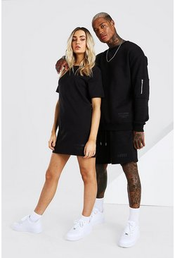 Black Abode Relaxed Utility Sweater And Short Set