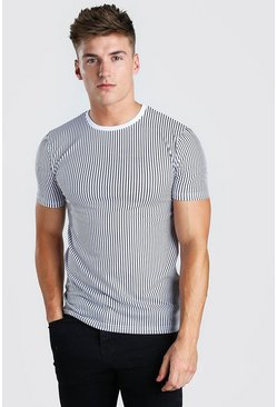 White Muscle Fit Vertical Stripe T-Shirt