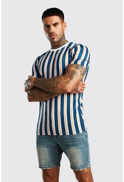 Navy Muscle Fit Vertical Stripe T-Shirt