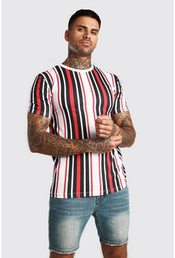 Black Muscle Fit Vertical Stripe T-Shirt