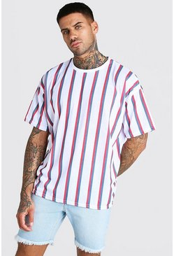 White Oversized Vertical Stripe T-Shirt