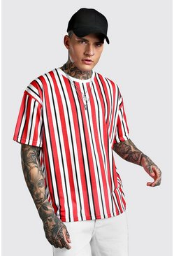 Red Oversized Vertical Stripe T-Shirt