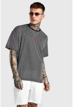 Black Oversized MAN Signature Vertical Stripe T-Shirt