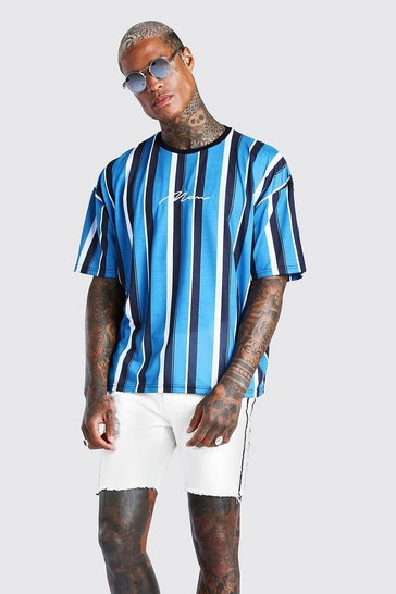 Blue Oversized MAN Signature Vertical Stripe T-Shirt