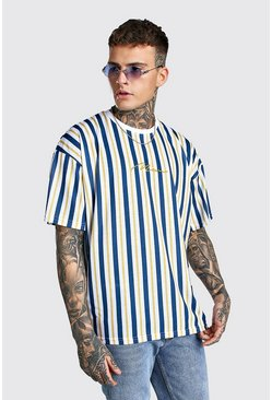White Oversized MAN Signature Vertical Stripe T-Shirt