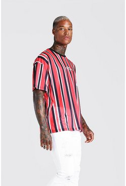 Red Oversized MAN Signature Vertical Stripe T-Shirt