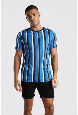 Blue Vertical Stripe Print T-Shirt