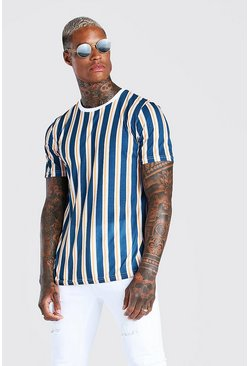 Navy Vertical Stripe Print T-Shirt