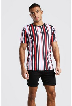 Black MAN Signature Vertical Stripe T-Shirt