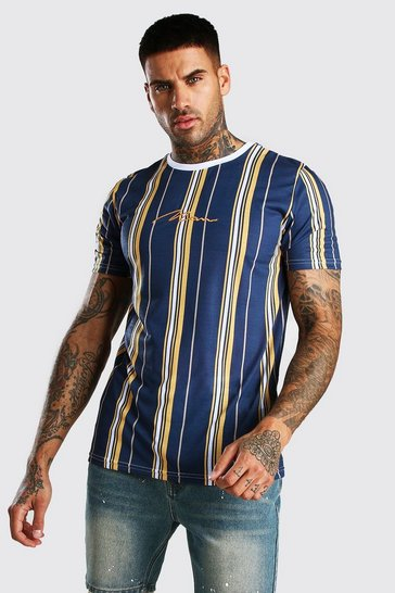 Navy MAN Signature Vertical Stripe T-Shirt