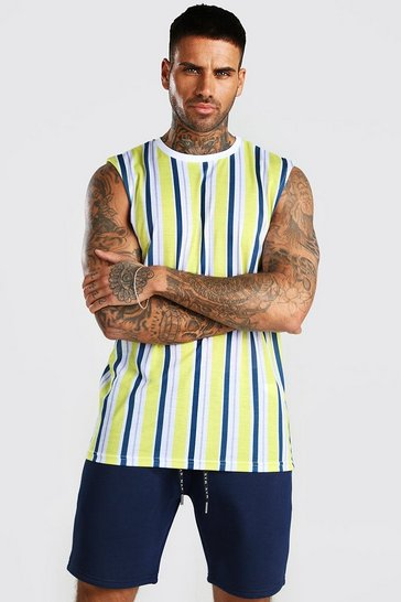 White Vertical Stripe Print Drop Armhole Tank