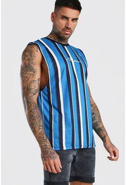 MAN Signature Vertical Stripe Drop Armhole Tank, Blue