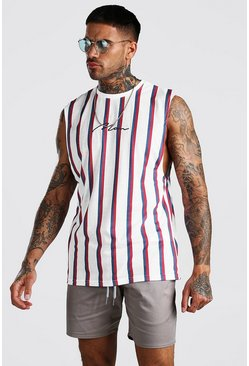 White MAN Signature Vertical Stripe Drop Armhole Tank