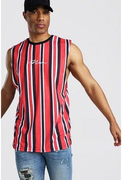 Red MAN Signature Vertical Stripe Drop Armhole Tank