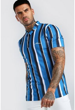 MAN Signature Vertical Stripe Polo, Blue