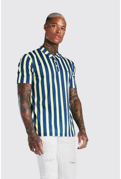 MAN Signature Vertical Stripe Polo, Navy