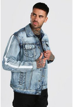 Mid blue Distressed Denim Jacket With Tape