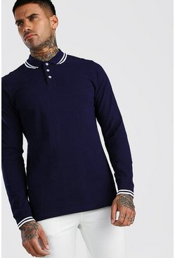 Navy Long Sleeve Tipped Pique Polo