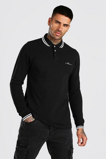 Black Long Sleeve MAN Signature Tipped Pique Polo