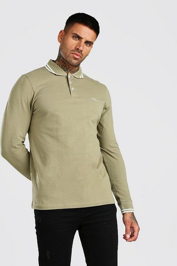 Khaki Long Sleeve MAN Signature Tipped Pique Polo