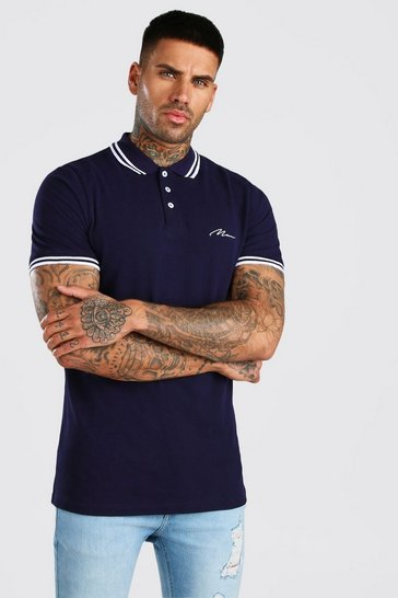 Navy MAN Signature Tipped Pique Polo