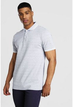 Grey MAN Signature Tipped Pique Polo