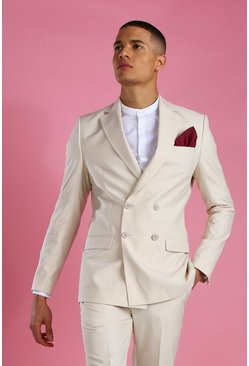 Ecru Skinny Plain Double Breasted Suit Jacket