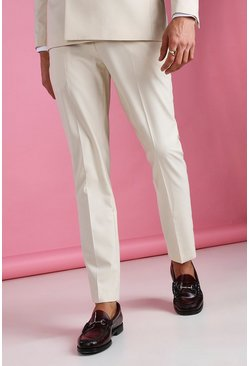 Ecru Skinny Plain Suit Pants