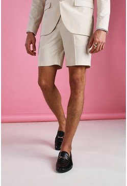 Ecru Skinny Plain Tailored Suit Shorts