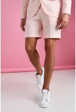 Light pink Skinny Plain Tailored Suit Shorts