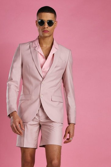 Dusky pink Skinny Plain Suit Jacket