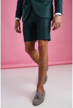 Green Skinny Plain Tailored Suit Shorts