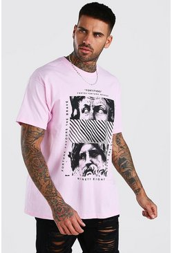 Pink Oversized Statue Front Print T-Shirt