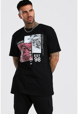 Oversized Statue Print T-Shirt, Black