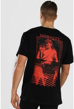 Oversized Nobility Statue Back Print T-Shirt, Black