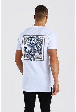 White Longline Dragon Back Print T-Shirt