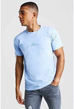 MAN Signature Overdyed T-Shirt, Blue