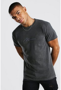 MAN Signature Overdyed T-Shirt, Charcoal